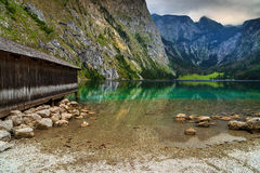 Bootsdock auf Obersee alpinem See, Berchtesgaden, Bayern, Deutschland, Europa Stockfoto