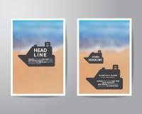 Bootsfahne und Unschärfehintergrundbroschürenflieger-Entwurf tem lizenzfreie abbildung