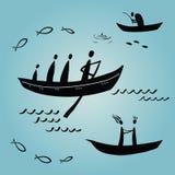 Bootsflüchtlinge, ethnics, fischend lizenzfreie abbildung