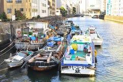 Bootshäuser in Sumida Fluss von Tokyo Stockbilder