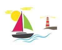 Bootsleuchtturm-Küstensonne bewegt Seeozean wellenartig Vektorabbildung auf weißem Hintergrund Rosabraun des blauen Grüns Lizenzfreies Stockfoto