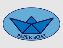Bootslogo des blauen Papiers Stockbild