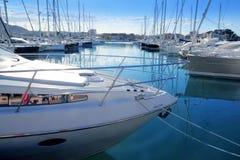 Bootsmittelmeerjachthafen in Denia Alicante Spanien lizenzfreies stockbild