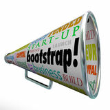 Bootstrap Bullhorn Megaphone Startup Launch Personal Funding Fin. Bootstrap word and related words on a megaphone or bullhorn including self funded, business Stock Photography