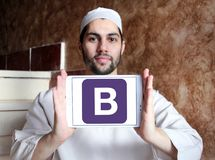 Bootstrap website logo. Logo of Bootstrap website on samsung tablet holded by arab muslim man. Bootstrap is a free and open source front end library for stock image
