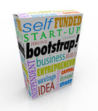 Bootstrap Word Product Box Personal Financed Product Company Sel. Bootstrap word on a new product box or package to promote or advertise a product launched by a Stock Photos