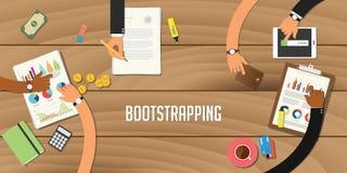 Bootstrapping het werk van het illustratieteam samen met een hand die bovenop het houten lijstwerk aan administratie samenwerken stock illustratie