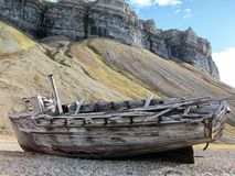 Spitsbergen, Svalbard. Old Boat Wreck at the Coast of Spitsbergen, Svalbard stock images