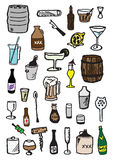 33 booze doodles Royalty Free Stock Photography