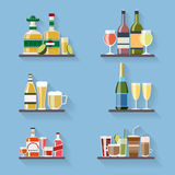 Booze or drinks flat icons on tray at bar. Beverage and liquor, design, wine and juice, champagne bottle and beer. Vector illustration Royalty Free Stock Image