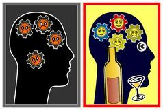 Alcohol affecting the mood. With booze people are feeling better and are more optimistic Royalty Free Stock Photo