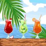 Booze for sunny party on an island in a restaurant or club near the ocean. Beach bar menu set. Summer Template design banner. Vector mojito, strawberry, Mai Tai vector illustration