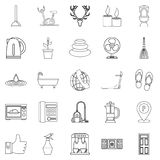 Boozer icons set, outline style. Boozer icons set. Outline set of 25 boozer vector icons for web isolated on white background Royalty Free Stock Image