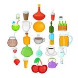 Boozing icons set, cartoon style. Boozing icons set. Cartoon set of 25 boozing vector icons for web isolated on white background Royalty Free Stock Photo