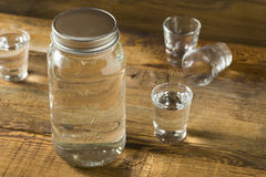 Boozy Alcoholic American Moonshine Shots. Ready to Drink stock photography