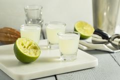 Boozy Lime  and Vodka Kamikaze Shots Royalty Free Stock Photos