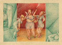 Boozy muses came. Comical illustration, boozy muses are singing in the room. Colored pencil over rough cardboard paper Royalty Free Stock Image
