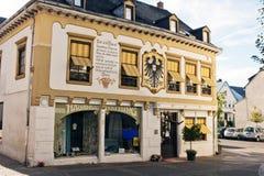 Boppard, Duitsland - Mening van het huis met een vernieuwde voorgevel Royalty-vrije Stock Fotografie