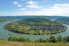 Boppard morgens Rhein, Rhein-Tal, Deutschland stockbild