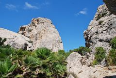 Boquer valley, Majorca. Giant rocks line the trail through the Boquer valley in the Serra de Tramuntana mountains on the Spanish island of Majorca. Starting in stock photos