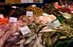 Boqueria fish market in Barcelona, Spain. Market stall with variety of Mediterranean products - fish, shrimps, shellfish, calamari etc Stock Photography