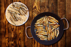 Boquerones fritos Mediterranean fried anchovies Royalty Free Stock Photo