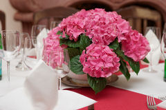 Boquet on arranged table Stock Photography