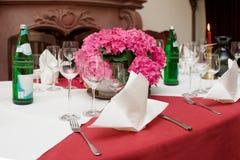 Boquet on arranged table Stock Photos
