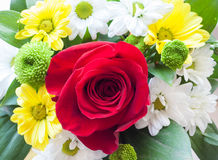Boquet. Of blooming flowers focus on the rose royalty free stock photo