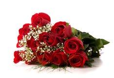 Boquet oder rote Rosen auf Weiß Stockbild