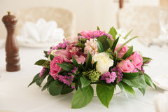 Boquet of orchid flowers and tulips Stock Images