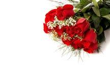 Boquet ou rosas vermelhas no branco Imagens de Stock Royalty Free