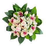 Boquet van rozen en orchideeën op wit worden geïsoleerd dat Royalty-vrije Stock Afbeelding