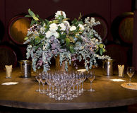 Boquet and wine glasses. Still life with boquet and wine glasses, decoration in the wine tasting room. Spain royalty free stock photography