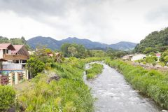 View from the bridge crossing the small stream to bajo boquete i Royalty Free Stock Photos