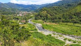 Boquete color signboard in a sunny day Panama. Panama Boquete September 2018 panoramic view of Boquete town, known for its spring weather during all the months stock video footage