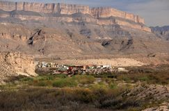 Boquillas del Carmen as Viewed from Big Bend National Park Royalty Free Stock Image