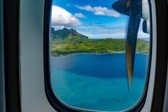 Bora bora法属波利尼西亚空中飞机视图 免版税库存照片
