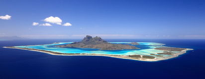 Bora Bora. Full View of Bora Bora Lagoon, French Polynesia from above on a near cloudless day. Prime honeymoon destination Stock Photography
