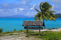 Bora Bora airport sign. Beautiful palms and blue sea at the background. French Polynesia, South Pacific Ocean stock images
