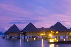 Bora Bora bungalows evening light Stock Photography
