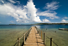 Bora Bora Ferry Pier. Ferry pier in Bora Bora, French Polynesia with lagoon in background Stock Photos