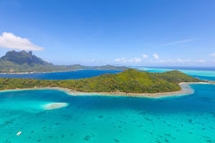 Bora bora island from air. View from helicopter at mount otemanu at bora bora island, french polynesia Royalty Free Stock Photo