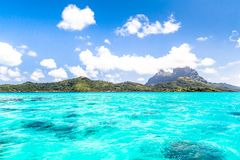 Bora Bora Island, French Polynesia. A true paradise with turquoise water. Destination sought by couples on honeymoon. Bora Bora Island, French Polynesia. A Stock Image
