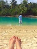 Bora Bora lagoon. Looking for fish & relaxing Royalty Free Stock Image