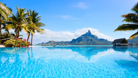 Bora Bora landscape. Beautiful view of Otemanu mountain on Bora Bora island Royalty Free Stock Photography