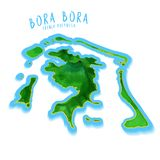Bora Bora Map with nice background Royalty Free Stock Images