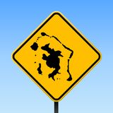 Bora Bora map on road sign. Square poster with Bora Bora island map on yellow rhomb road sign. Vector illustration royalty free illustration