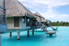 Bora bora over water huts Royalty Free Stock Photo