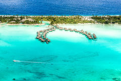 Bora Bora-overwater-bungalowwen Royalty-vrije Stock Foto